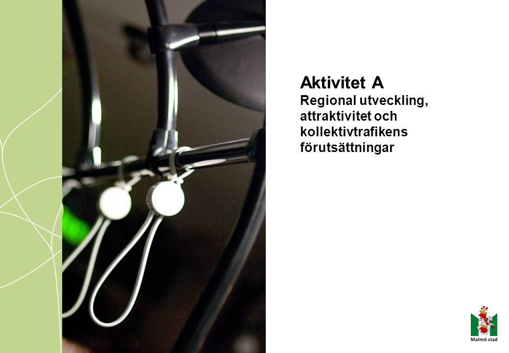 Aktivitet A Regional utveckling, attraktivitet och kollektivtrafikens förutsättningar