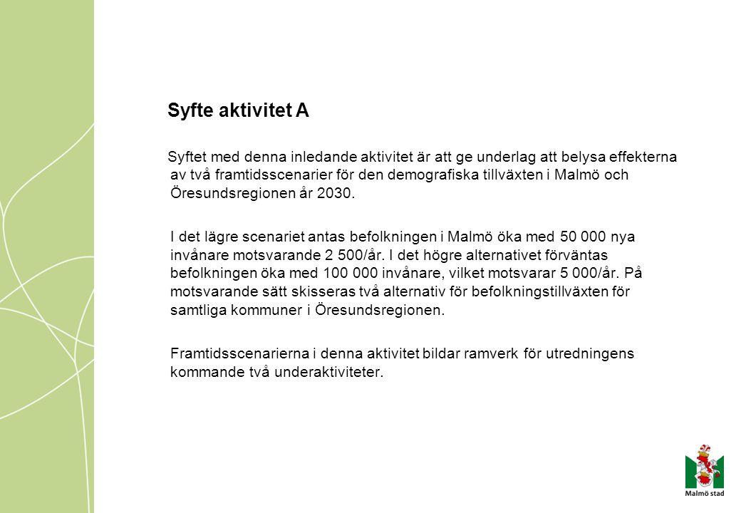 Syfte aktivitet A Syftet med denna inledande aktivitet är att ge underlag att belysa effekterna av två framtidsscenarier för den demografiska tillväxten i Malmö och Öresundsregionen år 2030.