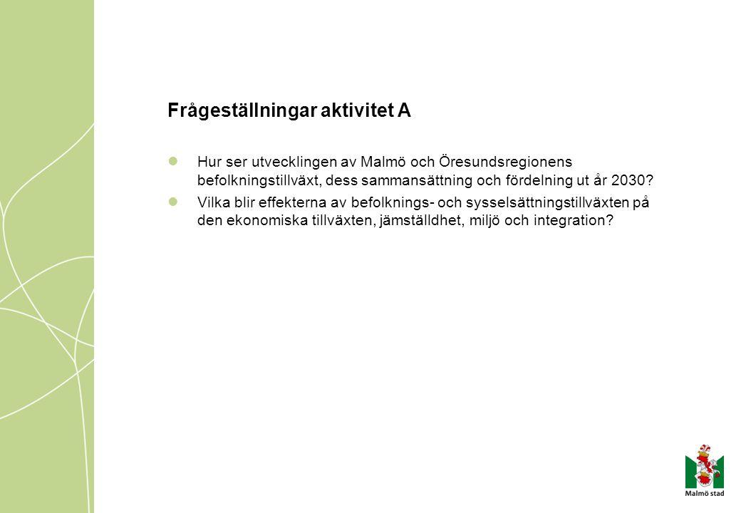 Frågeställningar aktivitet A Hur ser utvecklingen av Malmö och Öresundsregionens befolkningstillväxt, dess sammansättning och fördelning ut år 2030? V