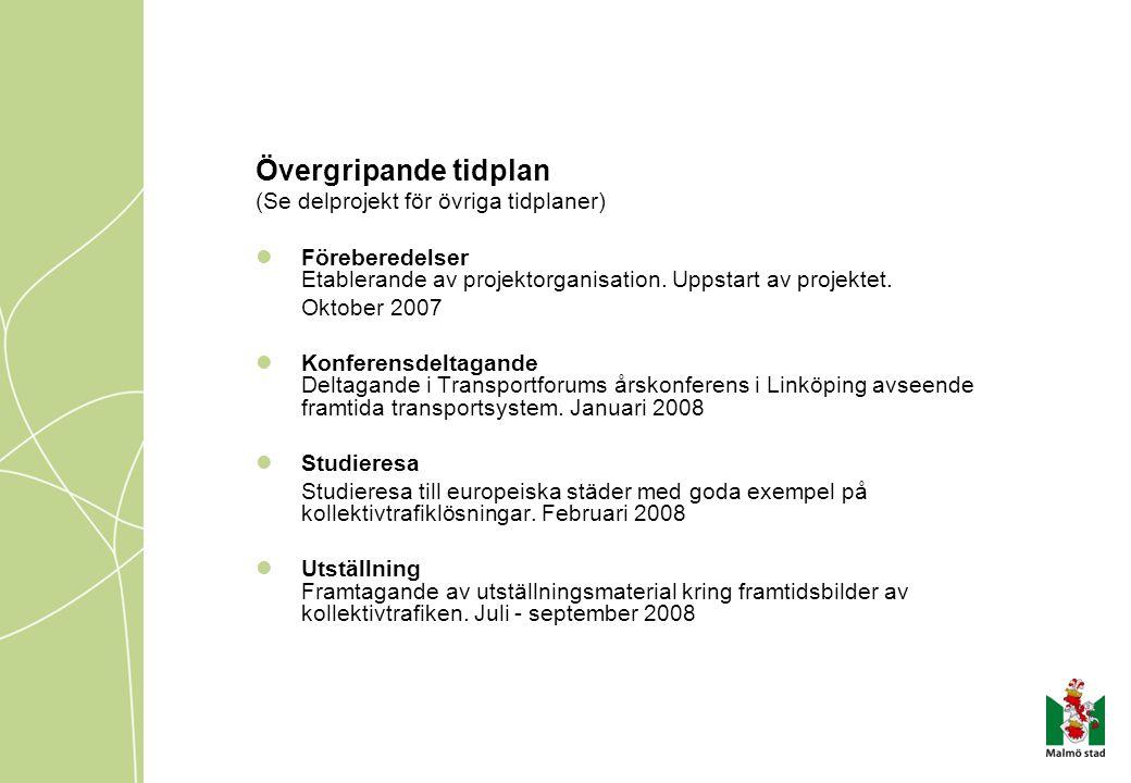 Övergripande tidplan (Se delprojekt för övriga tidplaner) Föreberedelser Etablerande av projektorganisation. Uppstart av projektet. Oktober 2007 Konfe