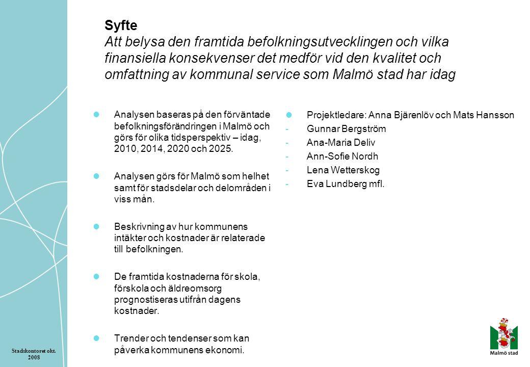Syfte Att belysa den framtida befolkningsutvecklingen och vilka finansiella konsekvenser det medför vid den kvalitet och omfattning av kommunal service som Malmö stad har idag Analysen baseras på den förväntade befolkningsförändringen i Malmö och görs för olika tidsperspektiv – idag, 2010, 2014, 2020 och 2025.