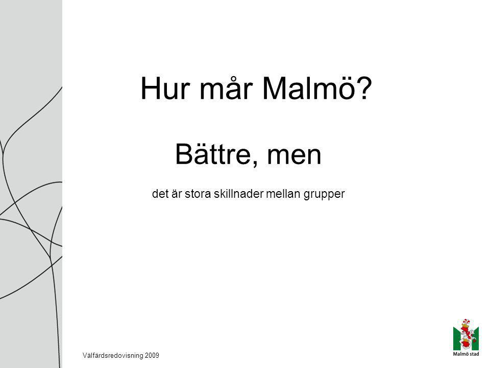 Hur mår Malmö Bättre, men det är stora skillnader mellan grupper Välfärdsredovisning 2009