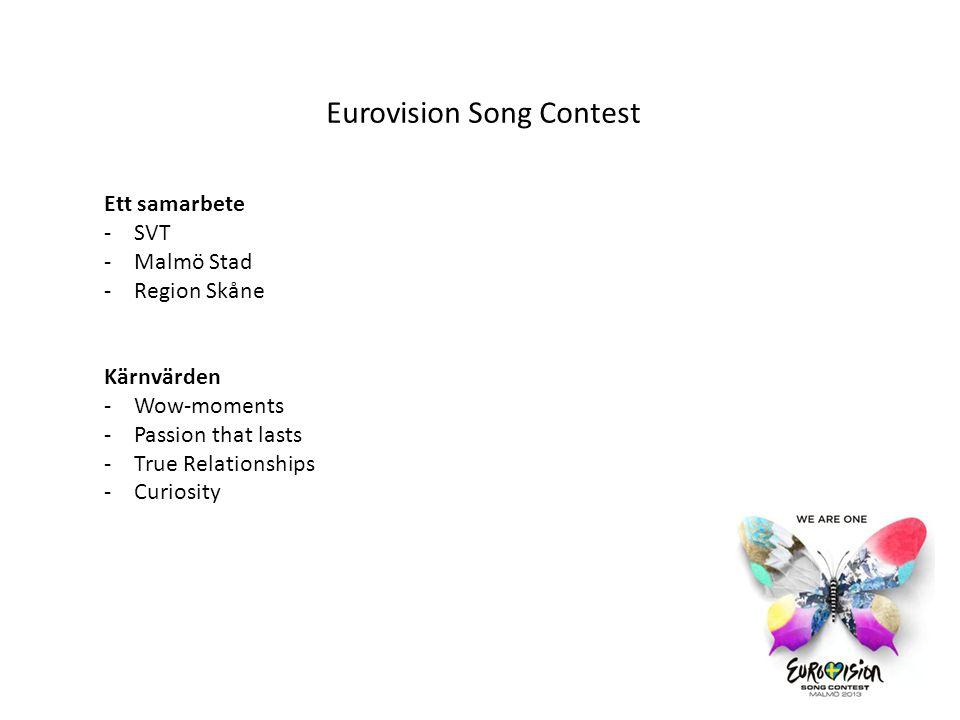 Alla delar av Eurovision TV sändningen och föreställningarna – Malmö Arena -Semifinal 14/5 och 16/5 -Final 18/5 -Totalt 9 föreställningar Presscenter – Malmö Mässan -10-18/5 -Varierade öppettider -Plats för press, loger, volontärer m.m.