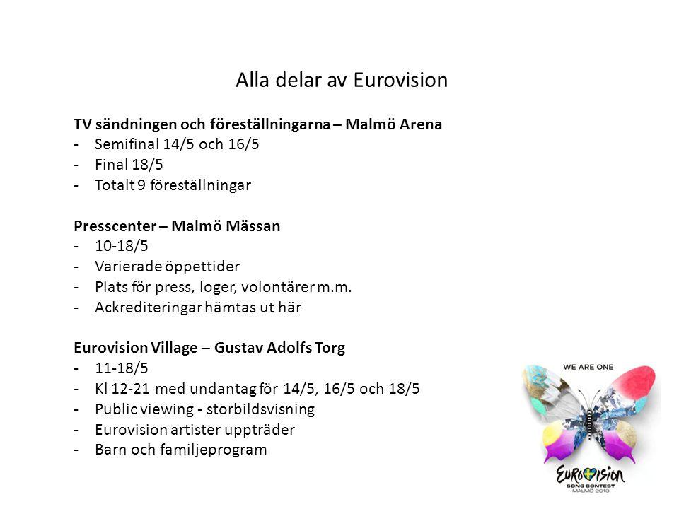 EuroClub - Slagthuset -Endast för ackrediterade -Underhållning på kvällarna -Avslutningsfesten 18/5 -Presscenter 6-9 maj Folkets Park -Euro Fan Café på Moriskan -Amiralen har WONK (gayclub med schlagertema och stora artister) -Storbildsvisningar -Underhållning 14-18/5 Öppningsceremonin – Malmö Opera -12/5 -Endast 800 – 1000 gäster -Pressen blir inte bjudna -Storbildsvisning på piazzan -Röda mattan för alla artister