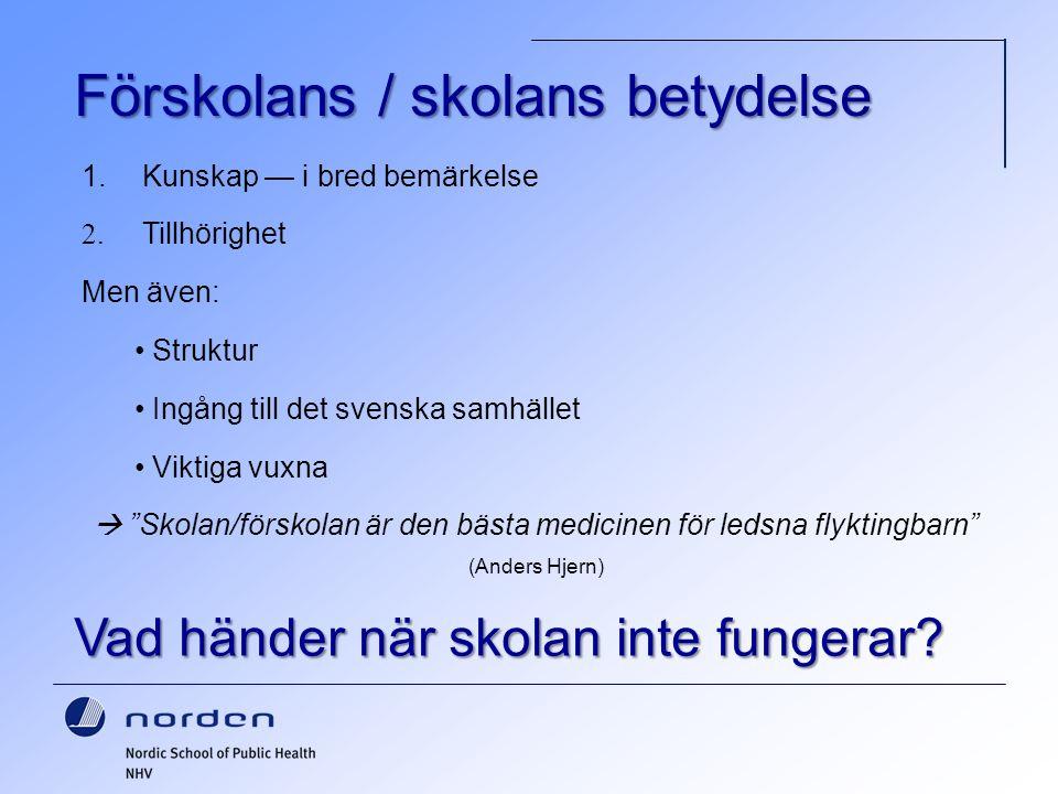 """Förskolans / skolans betydelse 1. Kunskap — i bred bemärkelse 2. Tillhörighet Men även: Struktur Ingång till det svenska samhället Viktiga vuxna  """"Sk"""