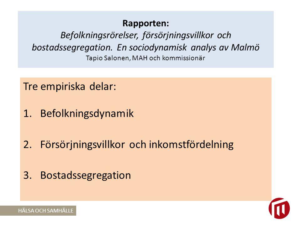 Rapporten: Befolkningsrörelser, försörjningsvillkor och bostadssegregation.