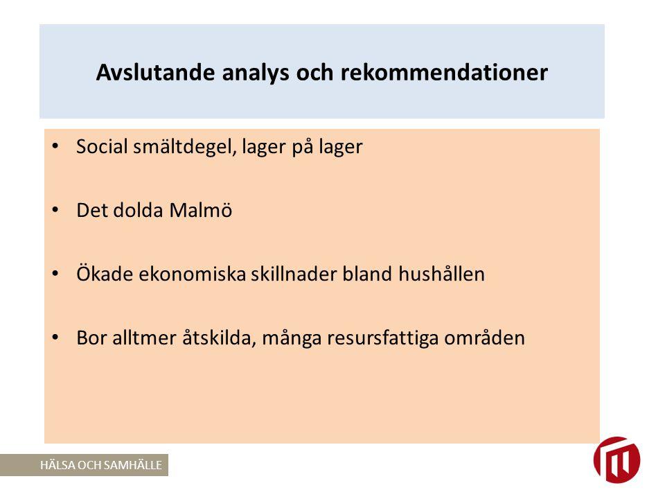 Avslutande analys och rekommendationer Social smältdegel, lager på lager Det dolda Malmö Ökade ekonomiska skillnader bland hushållen Bor alltmer åtskilda, många resursfattiga områden HÄLSA OCH SAMHÄLLE