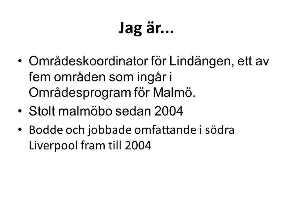 Jag är... Områdeskoordinator för Lindängen, ett av fem områden som ingår i Områdesprogram för Malmö. Stolt malmöbo sedan 2004 Bodde och jobbade omfatt