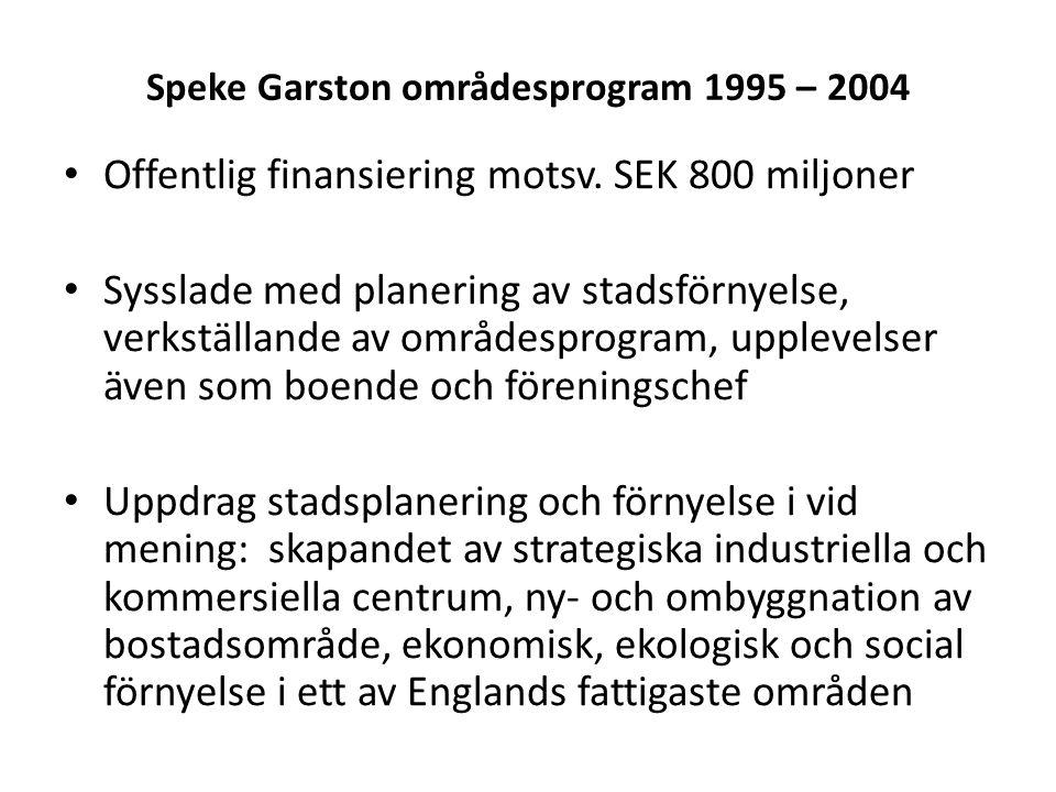 Offentlig finansiering motsv. SEK 800 miljoner Sysslade med planering av stadsförnyelse, verkställande av områdesprogram, upplevelser även som boende