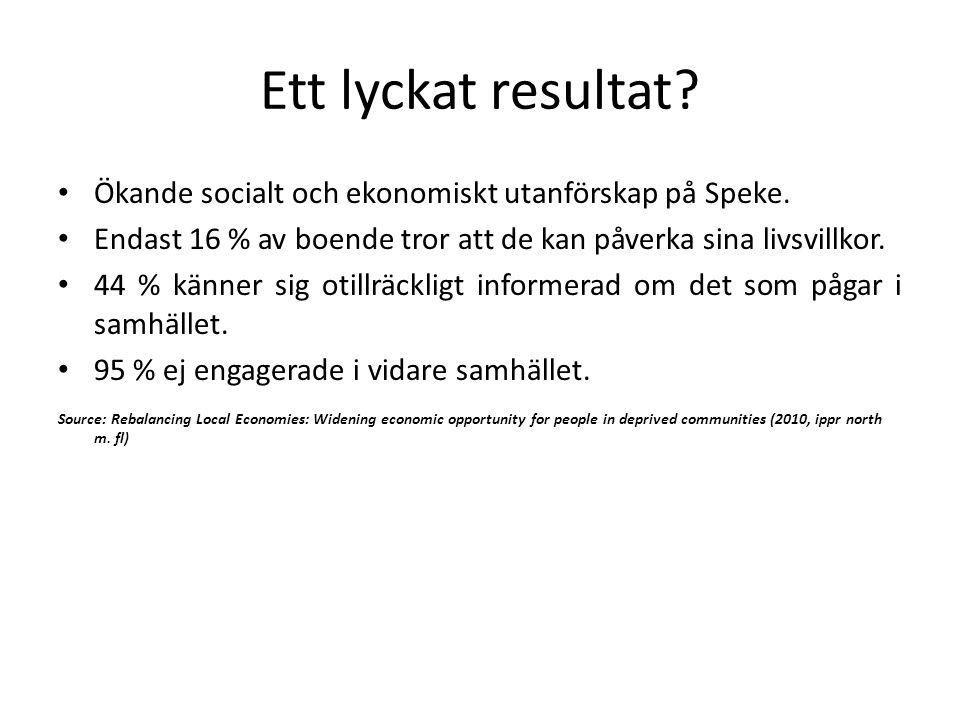 Ett lyckat resultat? Ökande socialt och ekonomiskt utanförskap på Speke. Endast 16 % av boende tror att de kan påverka sina livsvillkor. 44 % känner s