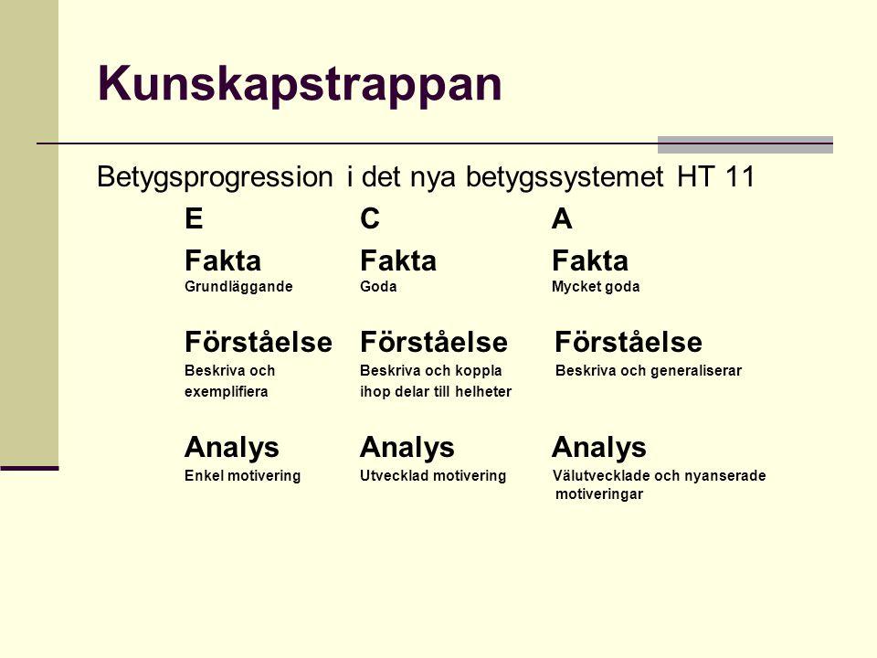 Kunskapstrappan Betygsprogression i det nya betygssystemet HT 11 EC A Fakta Fakta Fakta GrundläggandeGoda Mycket goda Förståelse Förståelse Förståelse