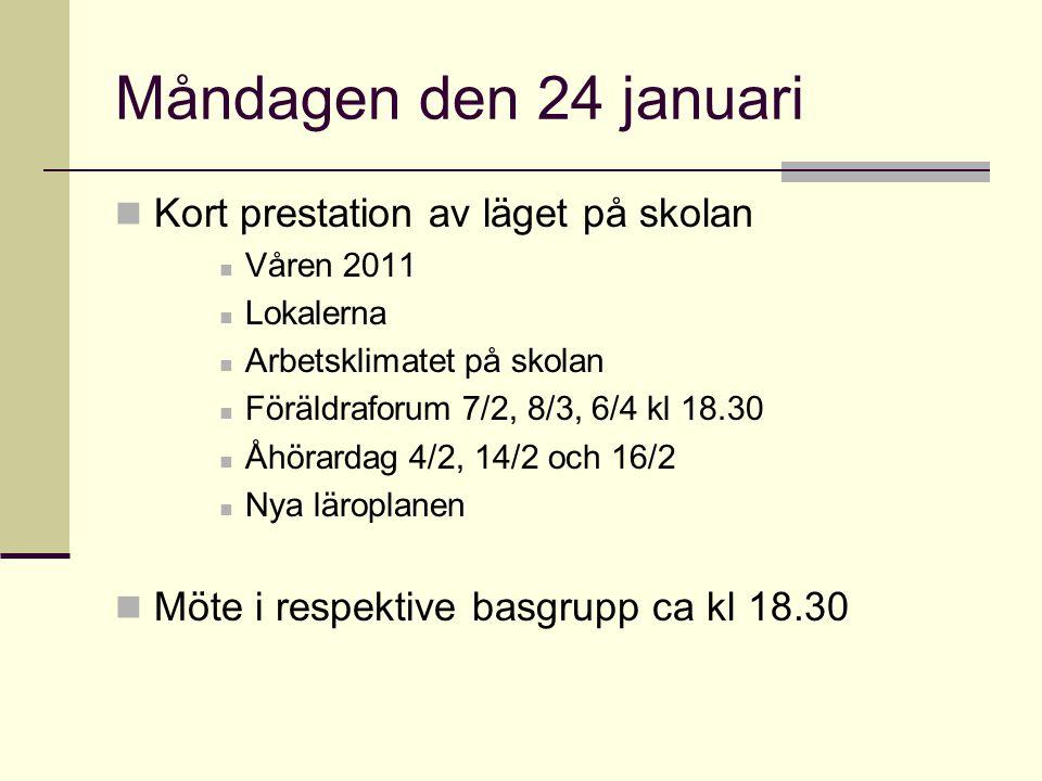 Måndagen den 24 januari Kort prestation av läget på skolan Våren 2011 Lokalerna Arbetsklimatet på skolan Föräldraforum 7/2, 8/3, 6/4 kl 18.30 Åhörarda