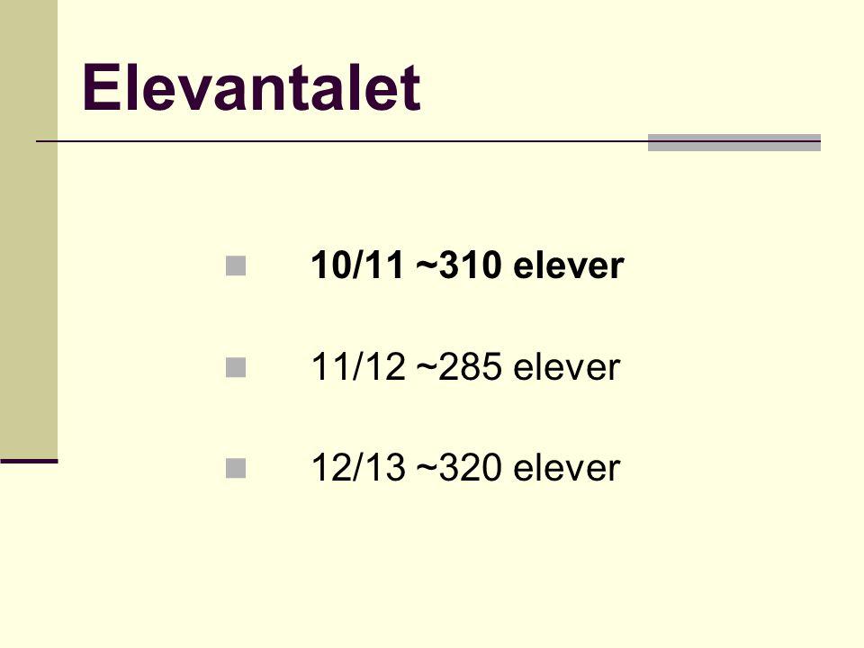 Elevantalet 10/11 ~310 elever 11/12 ~285 elever 12/13 ~320 elever