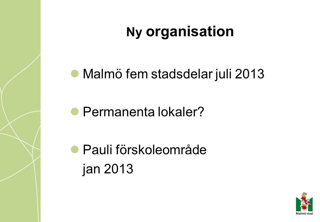Ny organisation Malmö fem stadsdelar juli 2013 Permanenta lokaler? Pauli förskoleområde jan 2013