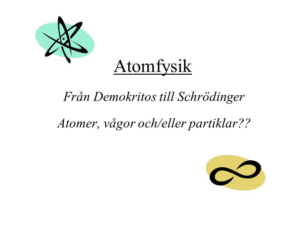 Atomfysik Från Demokritos till Schrödinger Atomer, vågor och/eller partiklar??