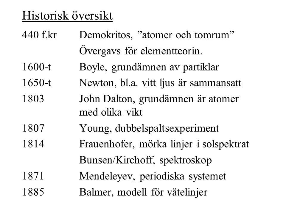 """440 f.krDemokritos, """"atomer och tomrum"""" Övergavs för elementteorin. 1600-tBoyle, grundämnen av partiklar 1650-tNewton, bl.a. vitt ljus är sammansatt 1"""