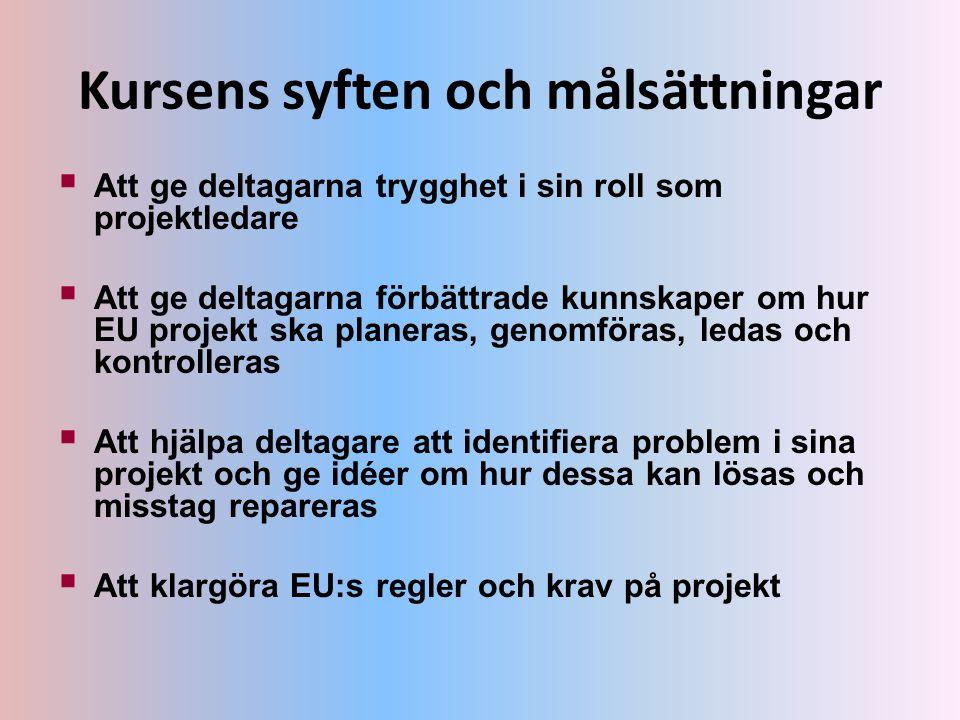 Kursens syften och målsättningar  Att ge deltagarna trygghet i sin roll som projektledare  Att ge deltagarna förbättrade kunnskaper om hur EU projek