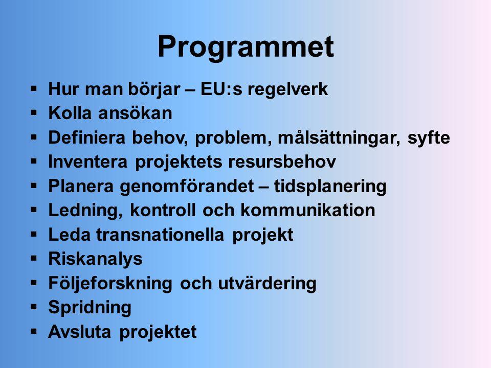 Programmet  Hur man börjar – EU:s regelverk  Kolla ansökan  Definiera behov, problem, målsättningar, syfte  Inventera projektets resursbehov  Pla