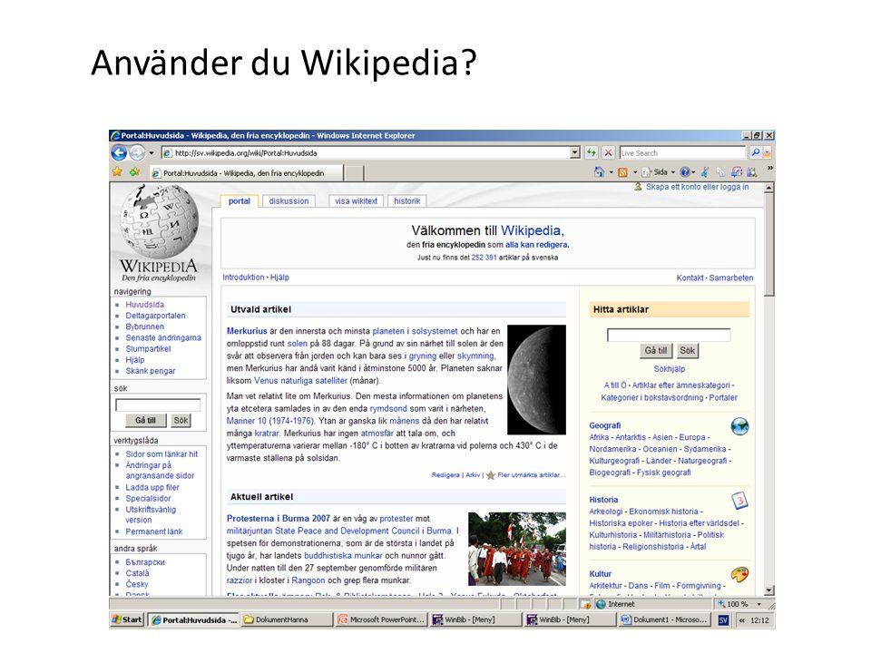 Använder du Wikipedia?