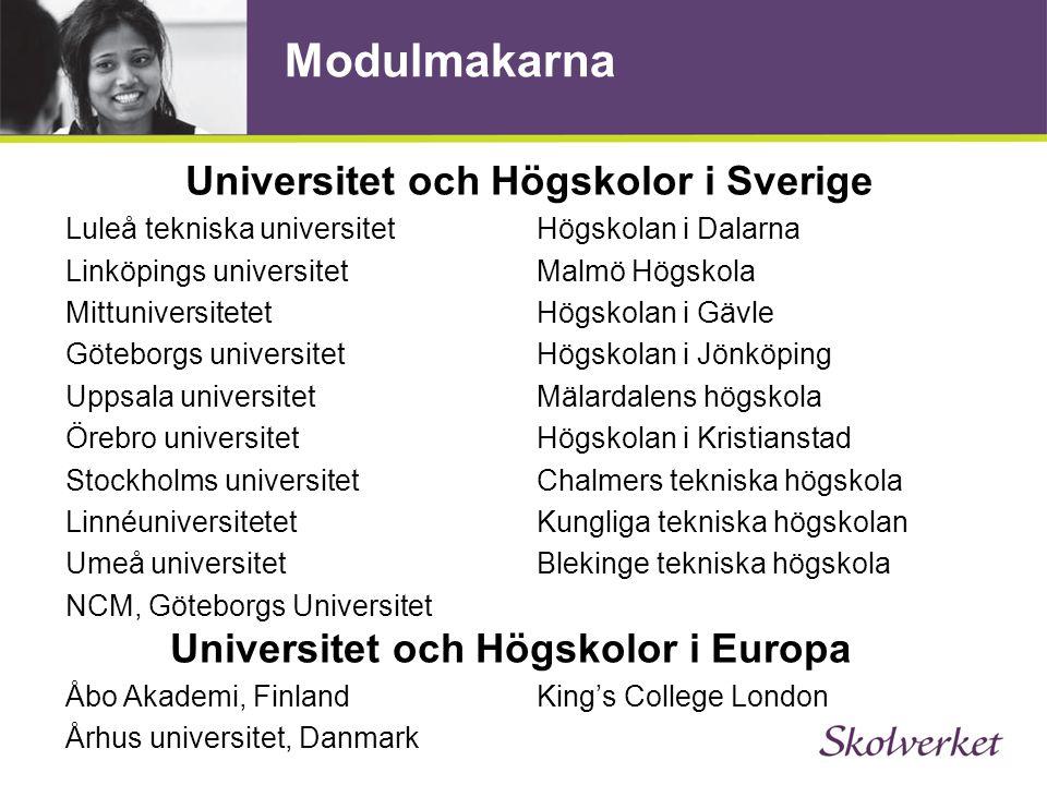 Modulmakarna Universitet och Högskolor i Sverige Luleå tekniska universitetHögskolan i Dalarna Linköpings universitet Malmö Högskola Mittuniversitetet