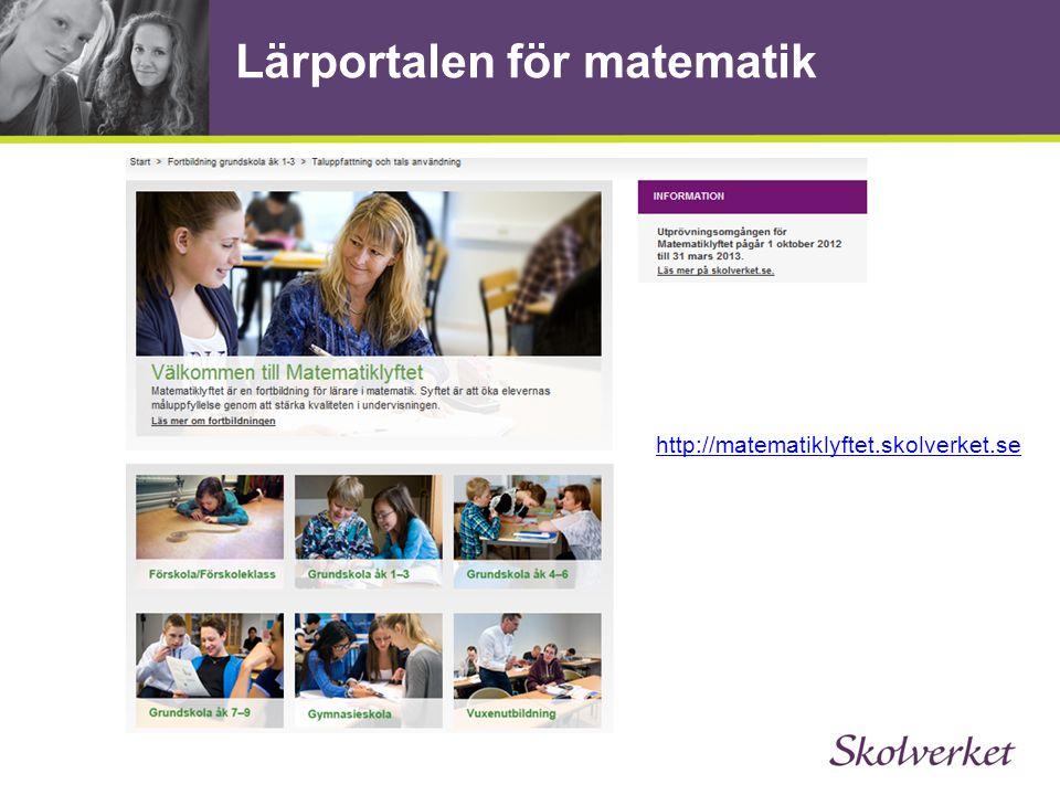 Lärportalen för matematik http://matematiklyftet.skolverket.se