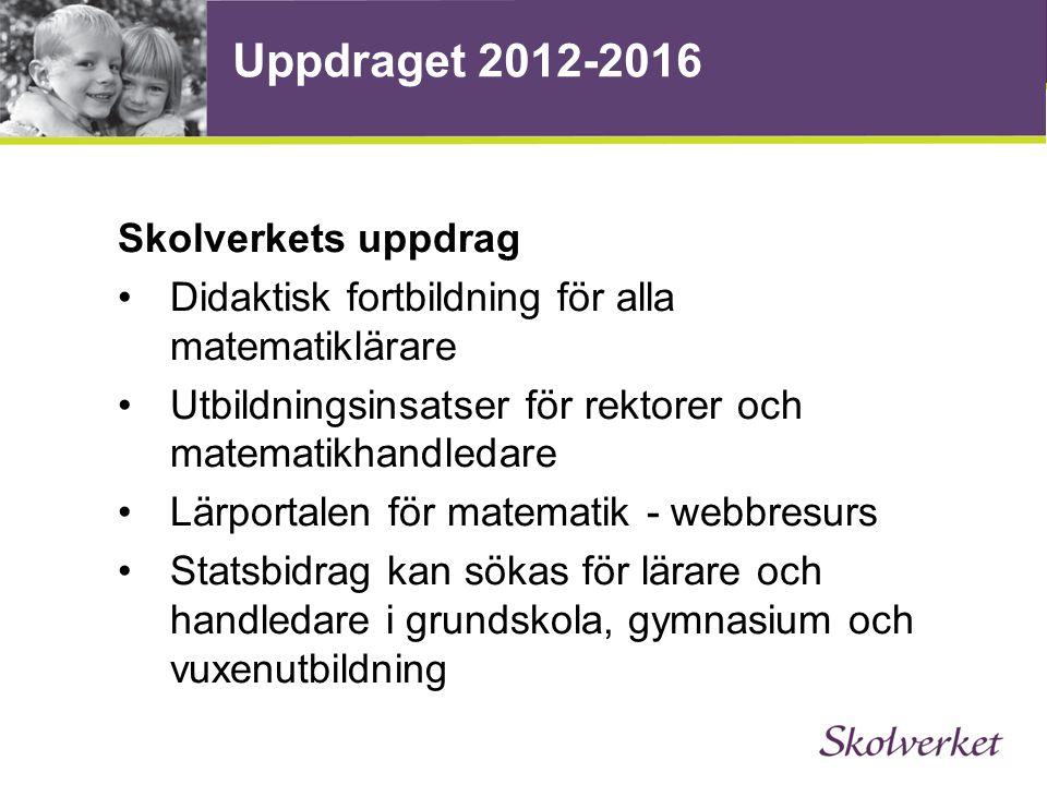 Uppdraget 2012-2016 Skolverkets uppdrag Didaktisk fortbildning för alla matematiklärare Utbildningsinsatser för rektorer och matematikhandledare Lärpo