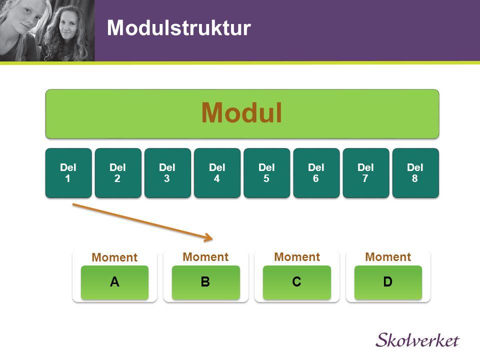 Modulstruktur Modul Del 1 Del 2 Del 3 Del 4 Del 5 Del 6 Del 7 Del 8 Moment A B C D