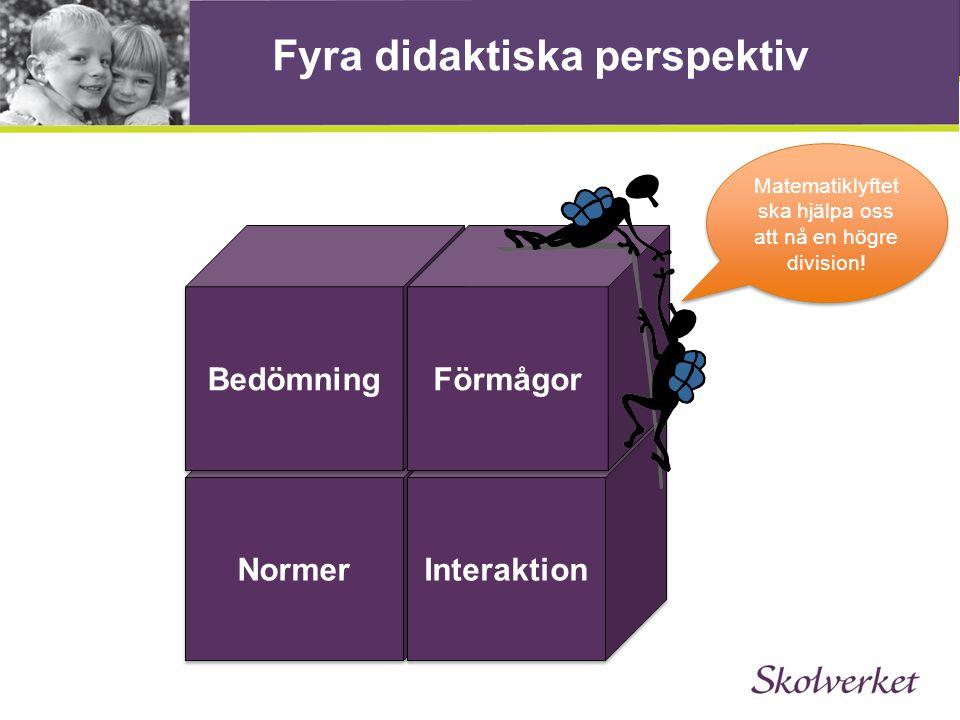 Fyra didaktiska perspektiv Normer Interaktion Bedömning Förmågor Matematiklyftet ska hjälpa oss att nå en högre division!