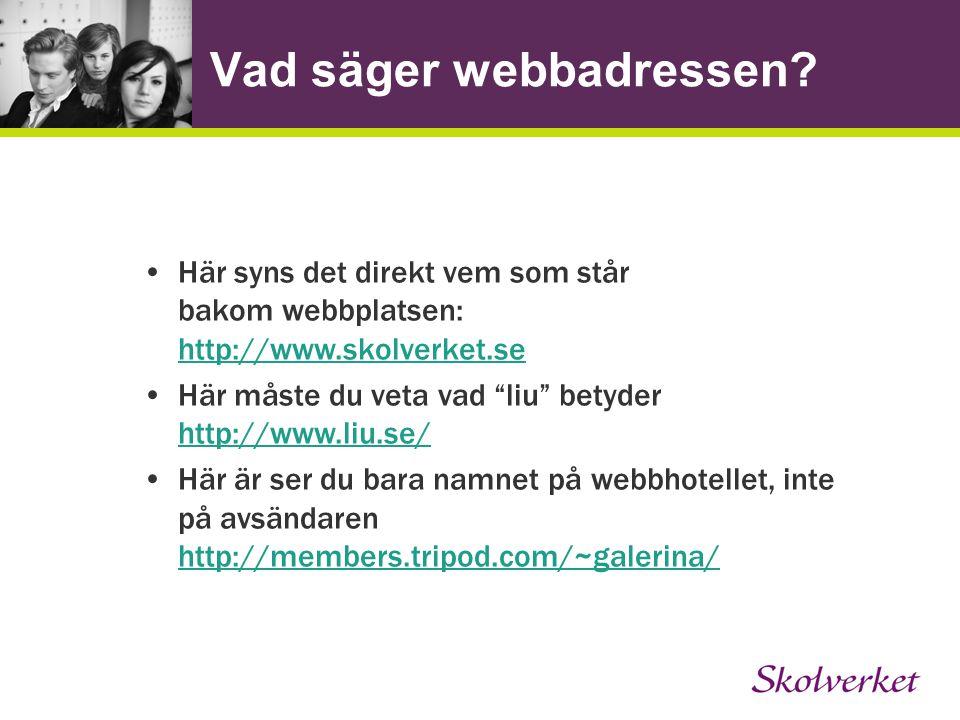 """Vad säger webbadressen? Här syns det direkt vem som står bakom webbplatsen: http://www.skolverket.se http://www.skolverket.se Här måste du veta vad """"l"""