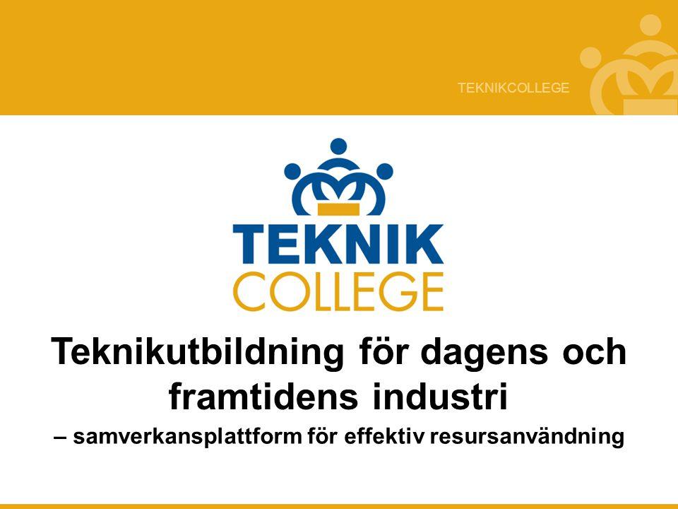 TEKNIKCOLLEGE Utmaningar Missmatch på arbetsmarknaden Industrins kompetensförsörjning i farozonen Lågt söktryck på industrirelevanta utbildningar Initiativtagare/Ägare av konceptet Teknikföretagen och IF Metall drivande initialt Industrirådet ägare av konceptet idag Sverige 2004