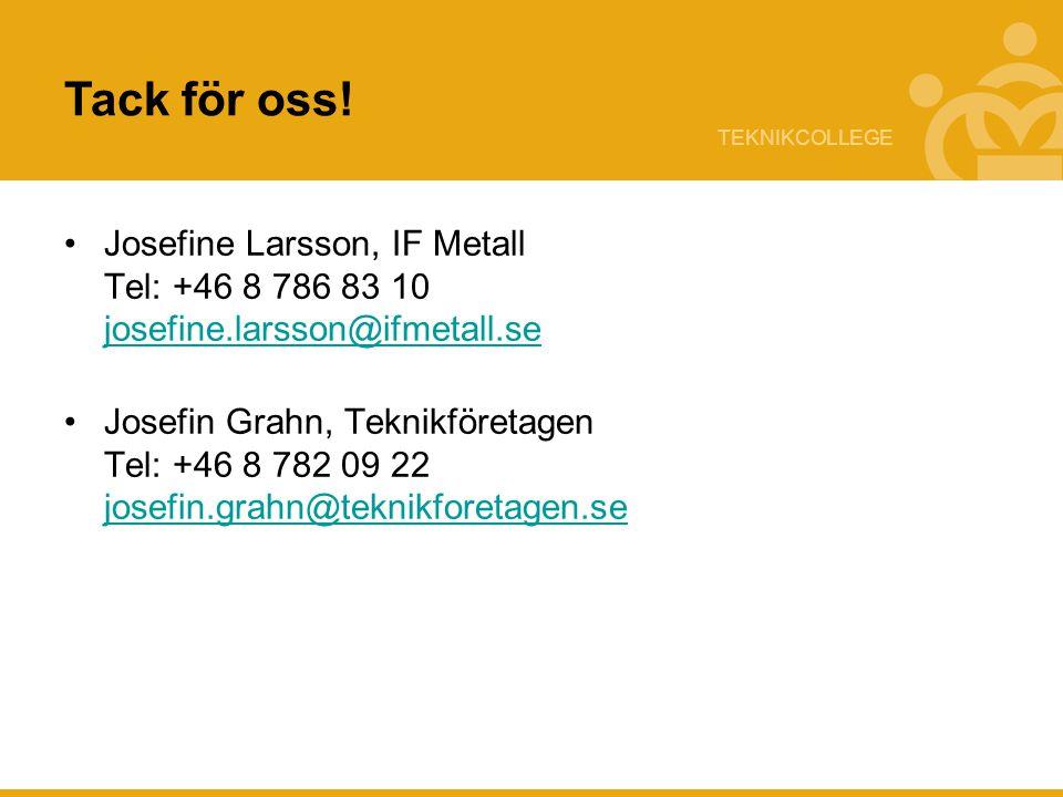 TEKNIKCOLLEGE Tack för oss! Josefine Larsson, IF Metall Tel: +46 8 786 83 10 josefine.larsson@ifmetall.se josefine.larsson@ifmetall.se Josefin Grahn,