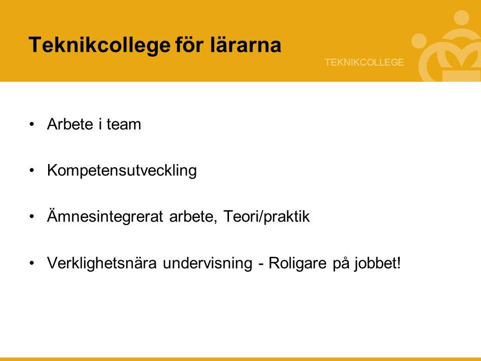 TEKNIKCOLLEGE Teknikcollege för lärarna Arbete i team Kompetensutveckling Ämnesintegrerat arbete, Teori/praktik Verklighetsnära undervisning - Roligar