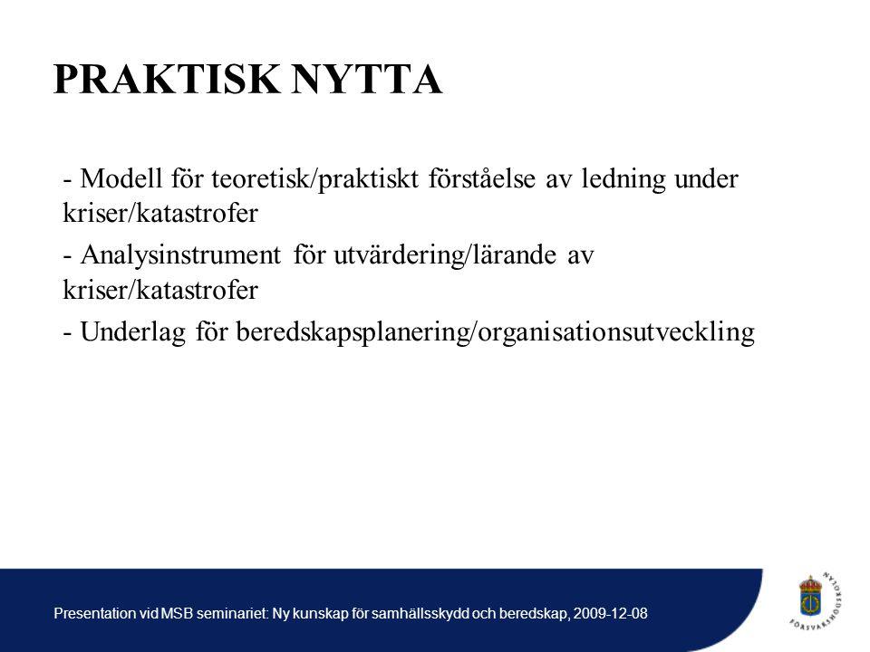 Presentation vid MSB seminariet: Ny kunskap för samhällsskydd och beredskap, 2009-12-08 PRAKTISK NYTTA - Modell för teoretisk/praktiskt förståelse av ledning under kriser/katastrofer - Analysinstrument för utvärdering/lärande av kriser/katastrofer - Underlag för beredskapsplanering/organisationsutveckling