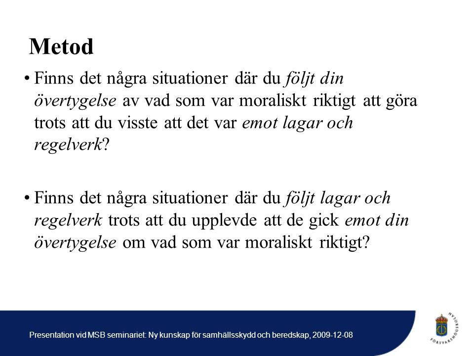 Presentation vid MSB seminariet: Ny kunskap för samhällsskydd och beredskap, 2009-12-08 Metod Finns det några situationer där du följt din övertygelse av vad som var moraliskt riktigt att göra trots att du visste att det var emot lagar och regelverk.