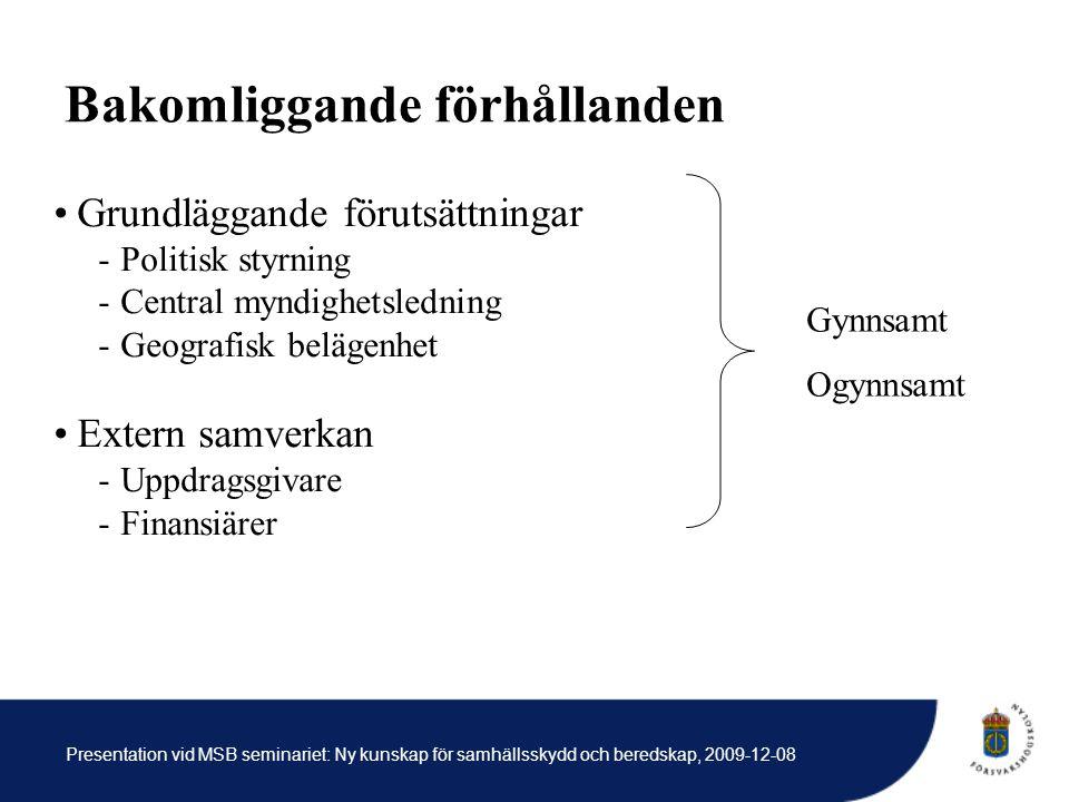 Bakomliggande förhållanden Grundläggande förutsättningar -Politisk styrning -Central myndighetsledning -Geografisk belägenhet Extern samverkan -Uppdragsgivare -Finansiärer Gynnsamt Ogynnsamt