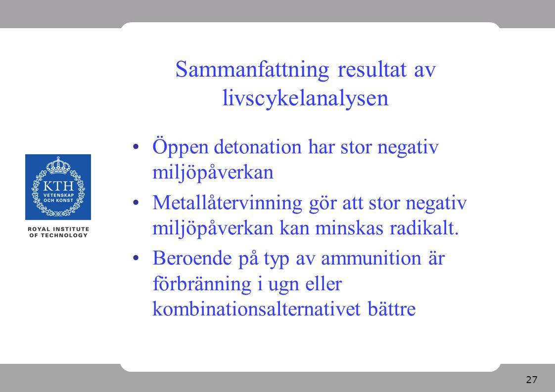 27 Sammanfattning resultat av livscykelanalysen Öppen detonation har stor negativ miljöpåverkan Metallåtervinning gör att stor negativ miljöpåverkan k