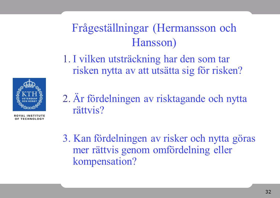 32 Frågeställningar (Hermansson och Hansson) 1.I vilken utsträckning har den som tar risken nytta av att utsätta sig för risken? 2.Är fördelningen av