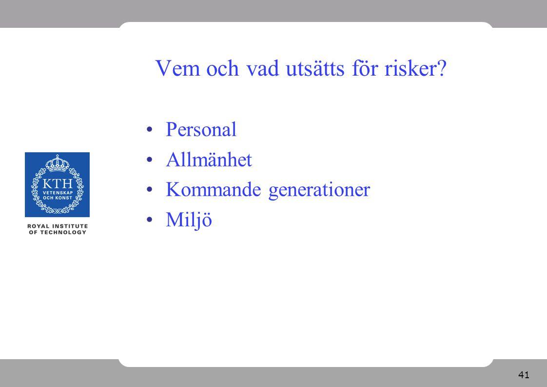 41 Vem och vad utsätts för risker? Personal Allmänhet Kommande generationer Miljö