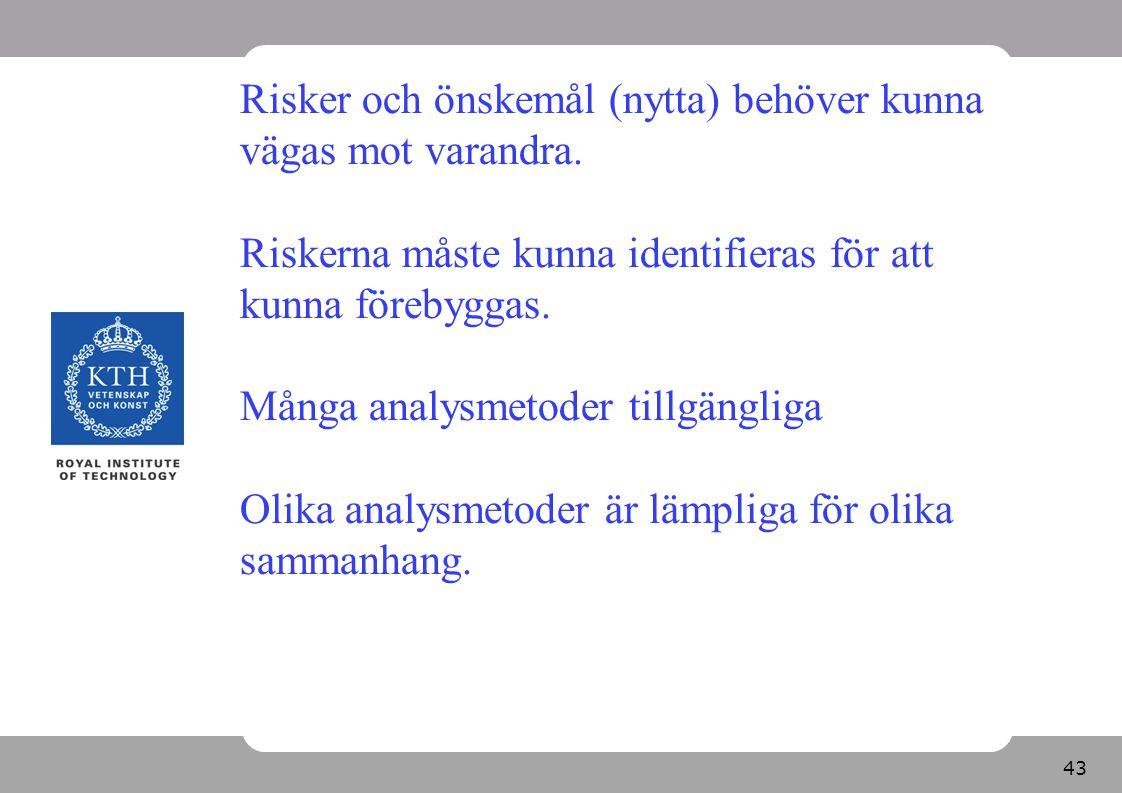 44 Riskanalysmetoder för olika typer av objekt