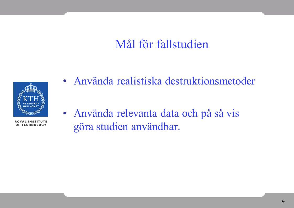 9 Mål för fallstudien Använda realistiska destruktionsmetoder Använda relevanta data och på så vis göra studien användbar.