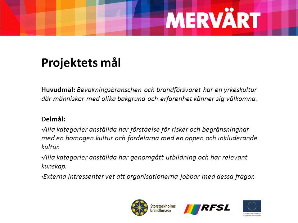 Projektets mål Huvudmål: Bevakningsbranschen och brandförsvaret har en yrkeskultur där människor med olika bakgrund och erfarenhet känner sig välkomna.