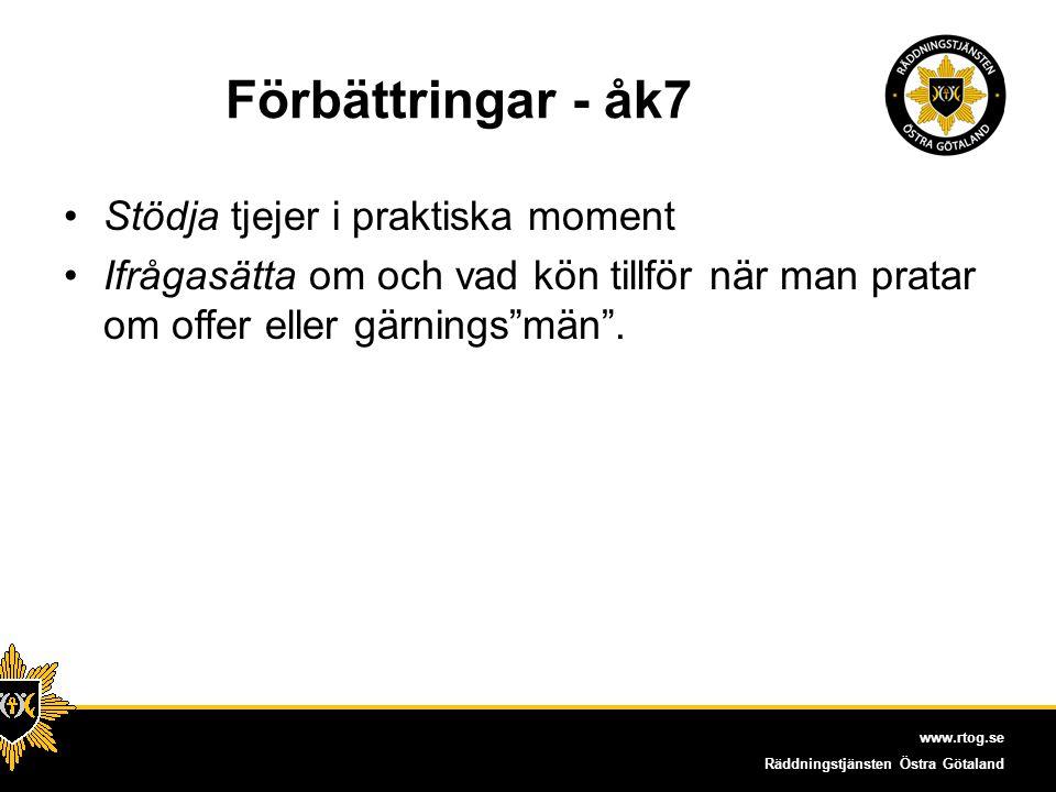 www.rtog.se Räddningstjänsten Östra Götaland Avslutning Utbildningen har hög kvalitet, men kan bli bättre Genom att stärka jämställdhetsperspektivet kan den få ännu mer kvalitet Vi kommer fortsätta analysera och ständigt förbättra verksamheten !