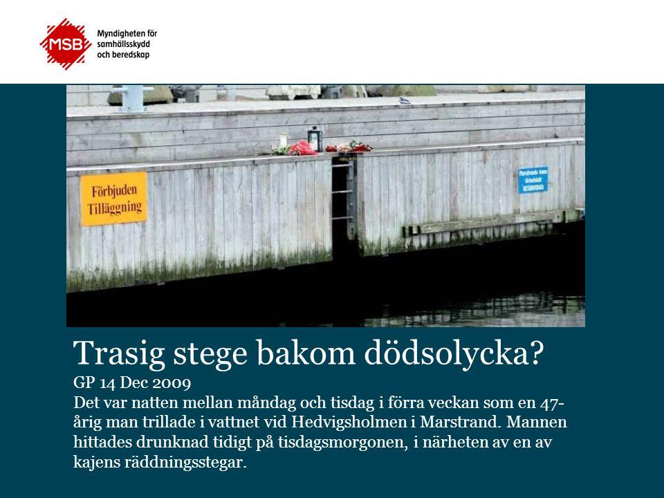 Trasig stege bakom dödsolycka? GP 14 Dec 2009 Det var natten mellan måndag och tisdag i förra veckan som en 47- årig man trillade i vattnet vid Hedvig