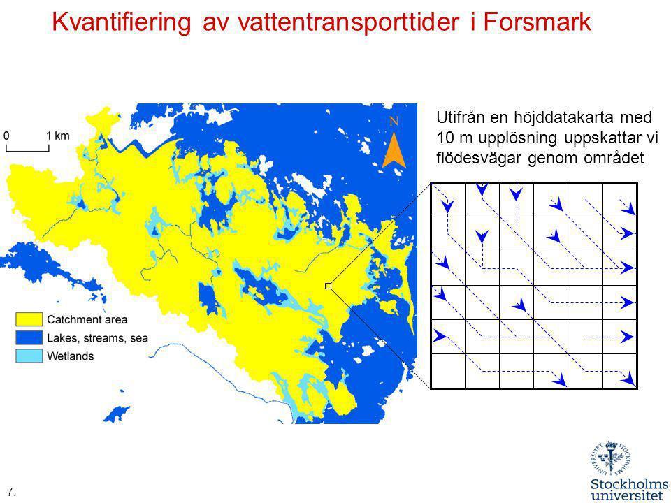 Kvantifiering av vattentransporttider i Forsmark 7. Utifrån en höjddatakarta med 10 m upplösning uppskattar vi flödesvägar genom området