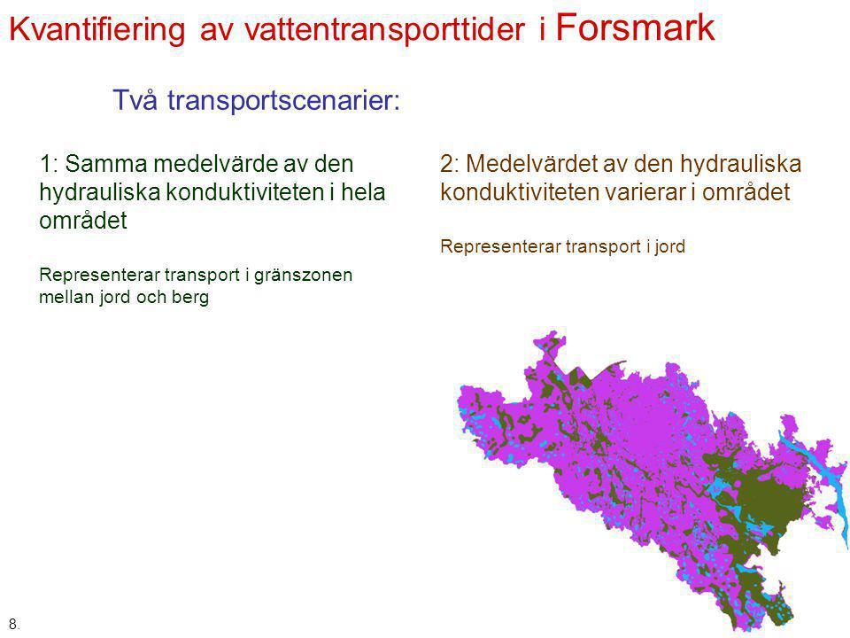 Kvantifiering av vattentransporttider i Forsmark 8. Två transportscenarier: 1: Samma medelvärde av den hydrauliska konduktiviteten i hela området Repr