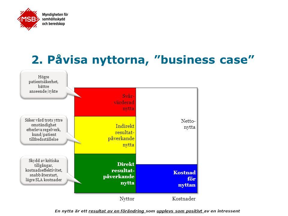 """2. Påvisa nyttorna, """"business case"""" En nytta är ett resultat av en förändring som upplevs som positivt av en intressent Skydd av kritiska tillgångar,"""