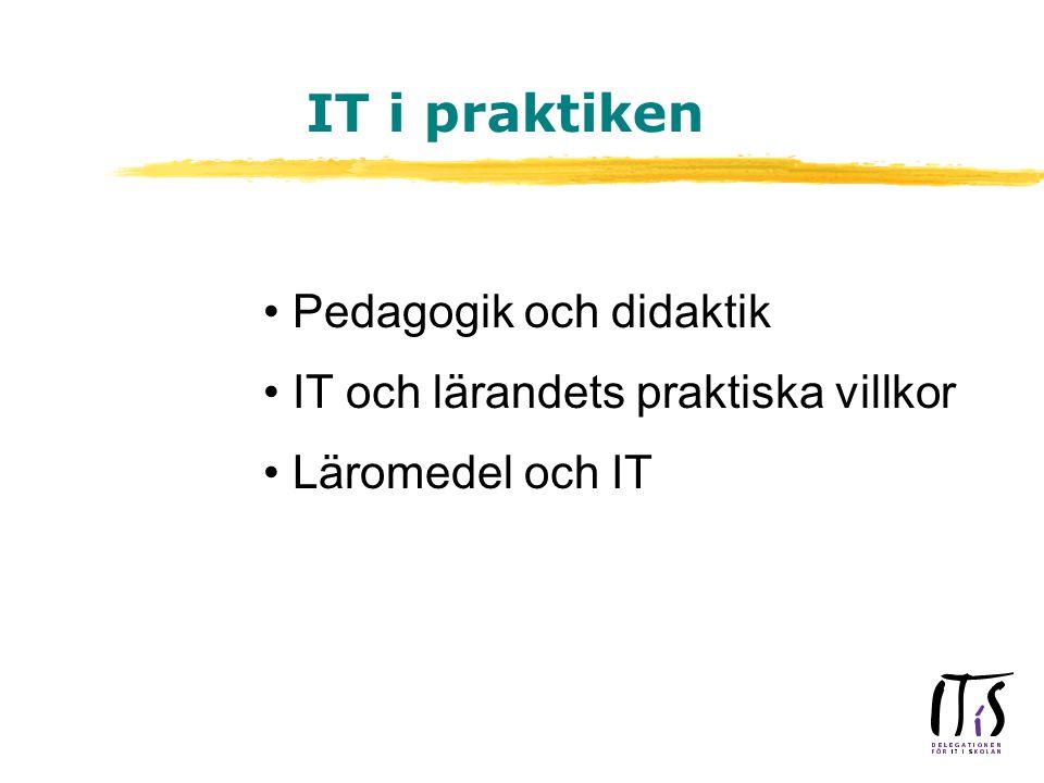 Pedagogik och didaktik IT och lärandets praktiska villkor Läromedel och IT IT i praktiken
