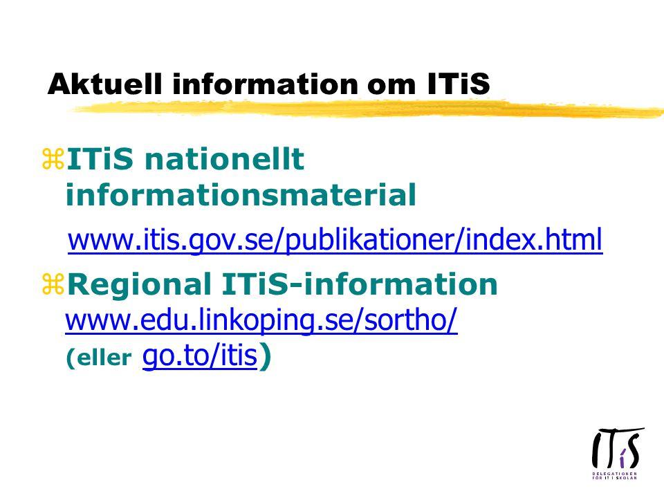 Aktuell information om ITiS zITiS nationellt informationsmaterial www.itis.gov.se/publikationer/index.html  Regional ITiS-information www.edu.linkoping.se/sortho/ (eller go.to/itis ) www.edu.linkoping.se/sortho/ go.to/itis