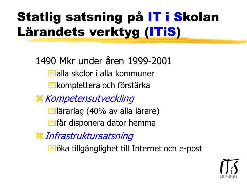 1490 Mkr under åren 1999-2001 yalla skolor i alla kommuner ykomplettera och förstärka zKompetensutveckling ylärarlag (40% av alla lärare) yfår disponera dator hemma zInfrastruktursatsning yöka tillgänglighet till Internet och e-post Statlig satsning på IT i Skolan Lärandets verktyg (ITiS)