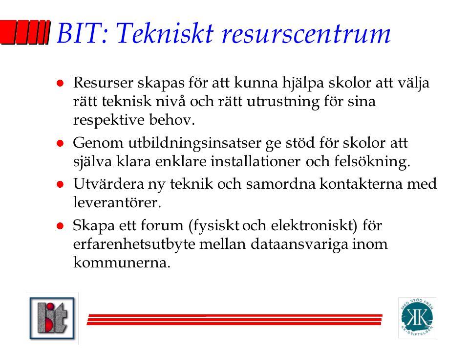 BIT: Tekniskt resurscentrum l Resurser skapas för att kunna hjälpa skolor att välja rätt teknisk nivå och rätt utrustning för sina respektive behov. l